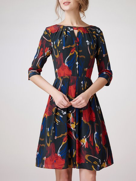 Black Silk Casual Abstract Keyhole Midi Dress