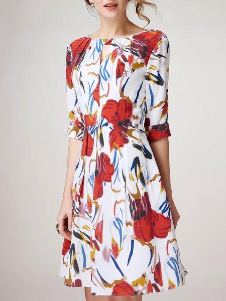 White Silk Printed Casual Midi Dress
