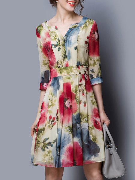 Multicolor Silk Vintage A-line Floral Midi Dress