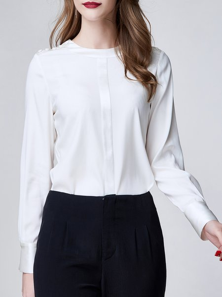 White Crew Neck Buttoned Long Sleeved Top