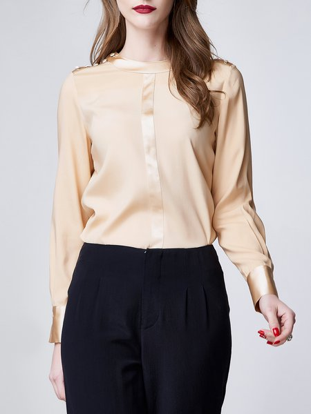 Apricot Work Buttoned Silk Long Sleeved Top