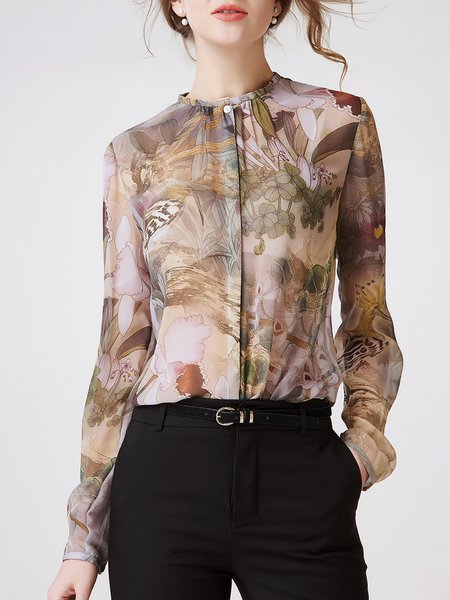 Multicolor Graphic Printed Silk Long Sleeve Blouse