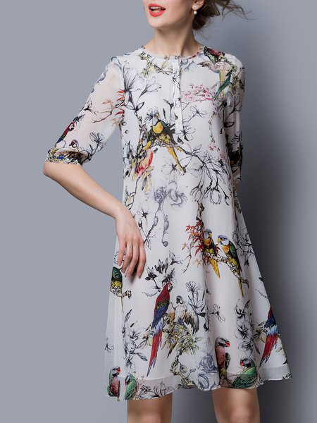 Multicolor Animal Print Casual A-line Silk Midi Dress