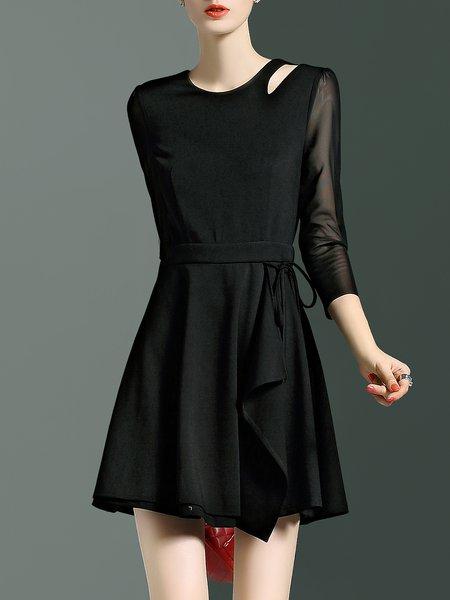 3/4 Sleeve Crew Neck A-line Simple Mini Dress