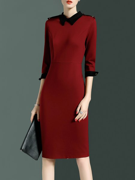 Burgundy Color-block Simple Sheath Midi Dress