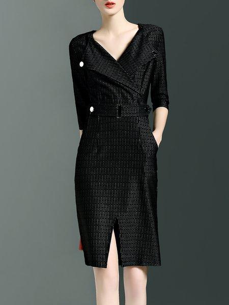 Black Work Polyester Sheath Stripes Midi Dress