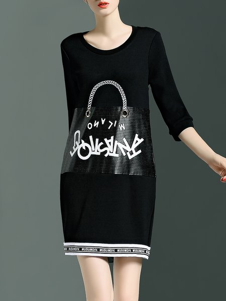 Black Printed Crew Neck 3/4 Sleeve Mini Dress