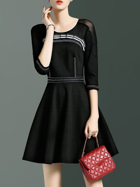 Crew Neck Casual A-line 3/4 Sleeve Paneled Mini Dress