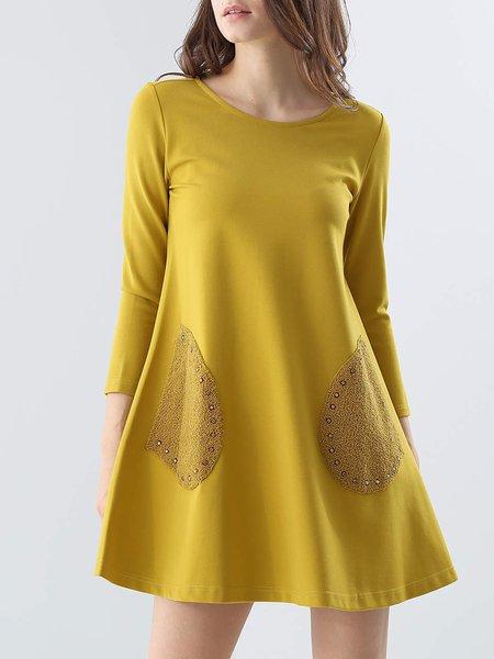 Yellow Pockets Casual Mini Dress