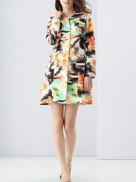 Multicolor Linen Long Sleeve Abstract Printed Coat