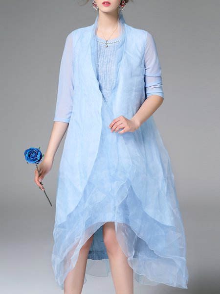 Simple Silk Plain Ruffled Half Sleeve Coat