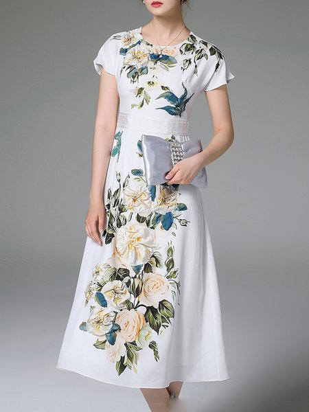 White Polyester Floral-print Simple Midi Dress