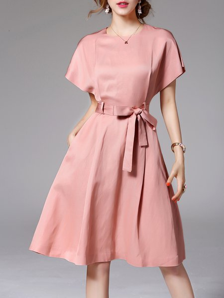 Pink Pockets Work Plain A-line Midi Dress
