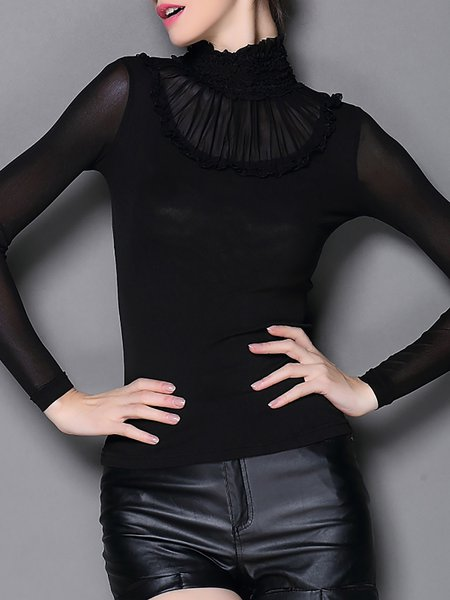 Black Elegant Mesh Long Sleeved Top