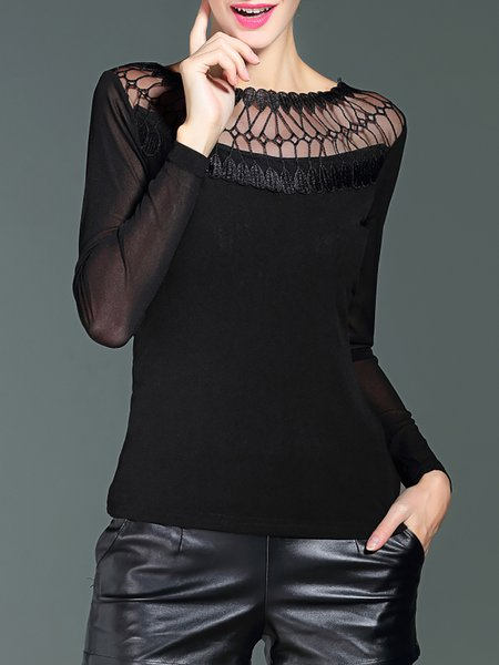 Plain Embroidered Elegant Boat Neck Long Sleeved Top