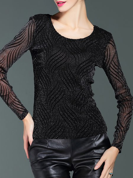 Black Mesh Casual Scoop Neckline Long Sleeved Top