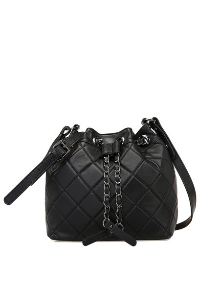 Black Drawstring Leather Shoulder Bag
