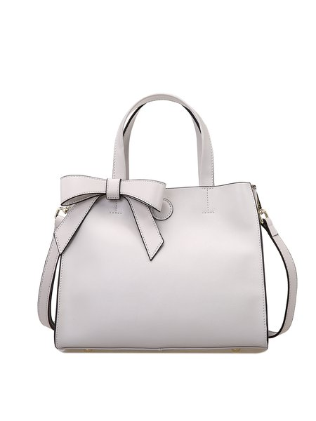 White Simple Cowhide Leather Zipper Top Handle