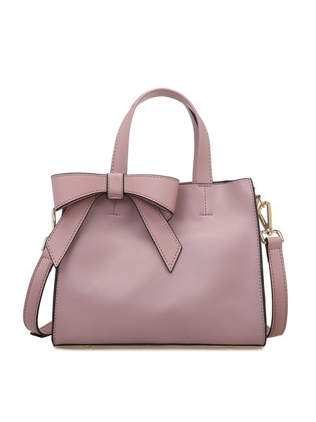 Deep Pink Small Simple Cowhide Leather Bow Satchel