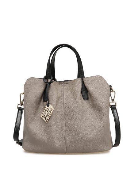 Gray Simple Cowhide Leather Medium Satchel