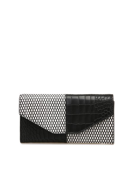 Black Casual Fold-over Flat Top Color-block Cowhide Leather Wallet