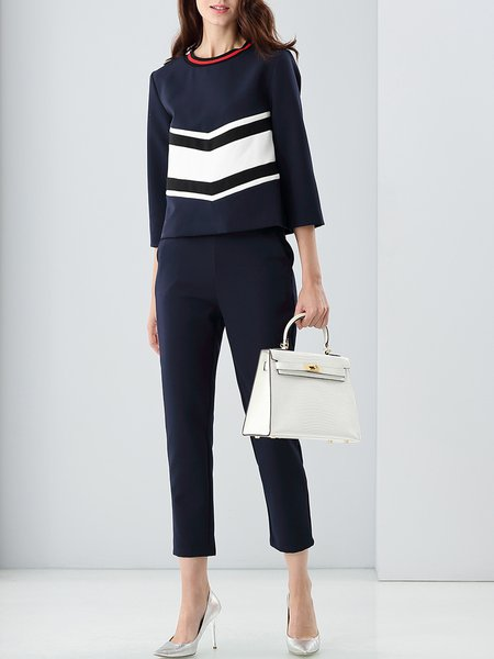 Navy Blue Formal Stripes Paneled Cotton-blend Jumpsuits