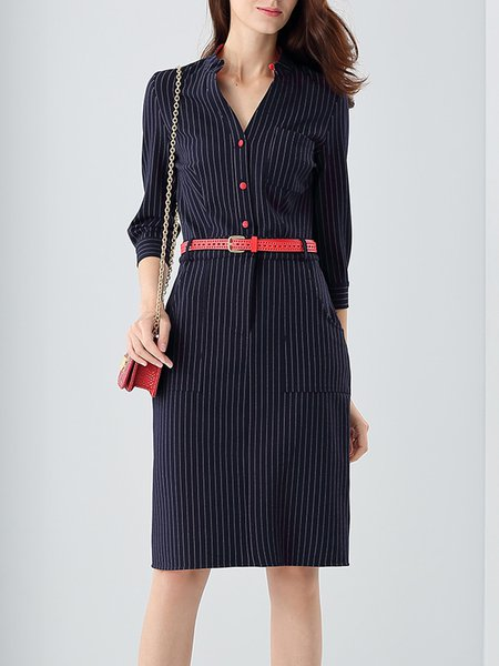 Navy Blue Elegant Buttoned Stripes Midi Dress With Belt