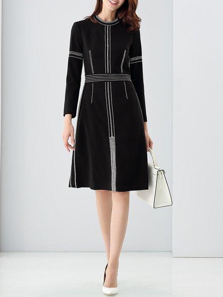 Black A-line Buttoned Sewing Elegant Midi Dress