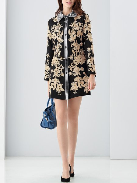 Black Paneled Floral Cotton-blend Embroidered Tunic