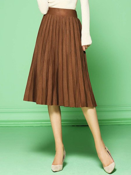Coffee Simple Pleated Stretchy Midi Skirt