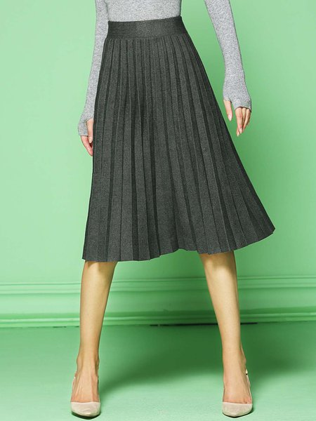Gray A-line Pleated Viscose Simple Midi Skirt