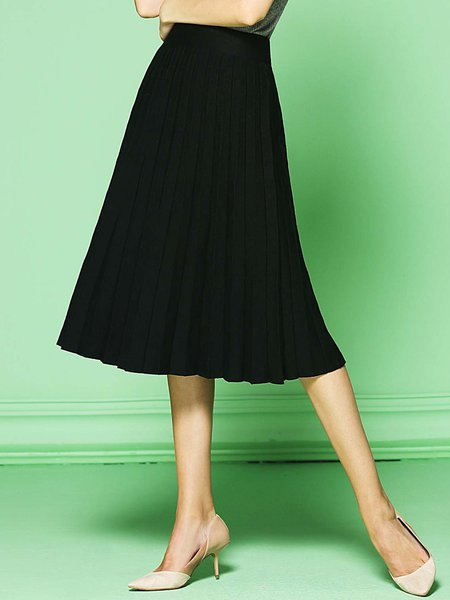 Black A-line Viscose Simple Pleated Midi Skirt