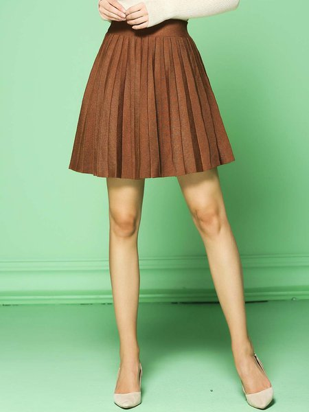 Coffee Pleated Simple Plain A-line Mini Skirt