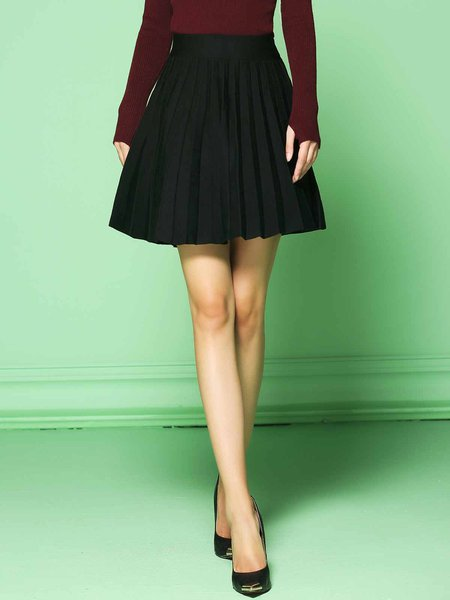 Black Simple Plain Viscose Stretchy Pleated Mini Skirt