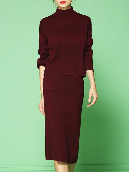 Wine Red Slit Two Piece Long Sleeve Stretchy Plain Midi Dress