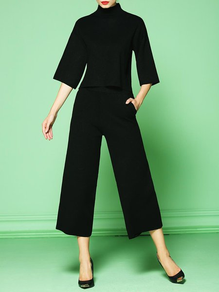 Black Turtleneck Two Piece Elegant Jumpsuit