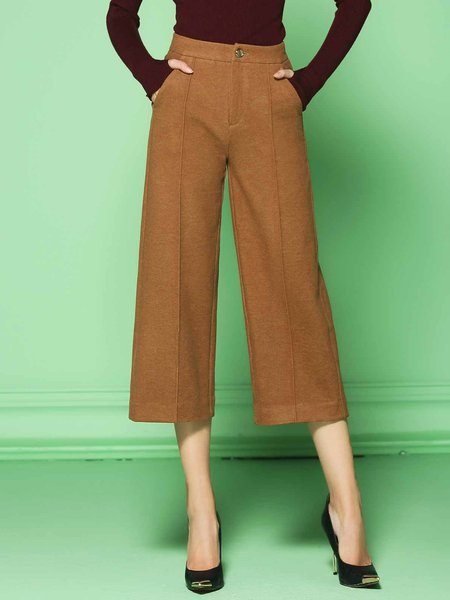 Work Polyester Pockets Plain Wide Leg Pants