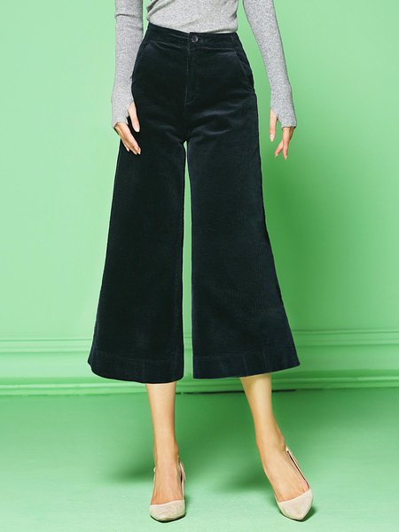 Dark Blue Velvet Work Wide Leg Pants