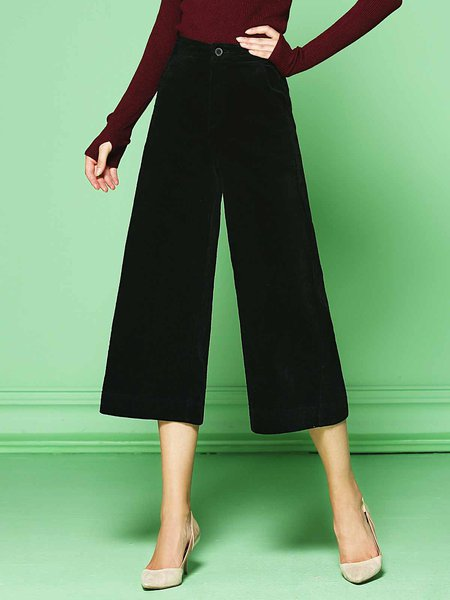 Black Pockets Work Velvet Plain Wide Leg Pants