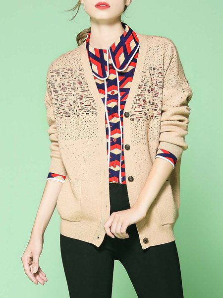 Apricot Long Sleeve Jacquard Knitted Cardigan