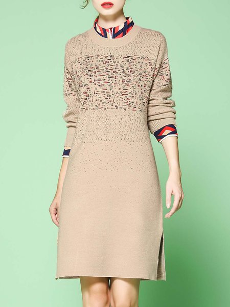Apricot Long Sleeve Stretchy Knitted Sweater Dress