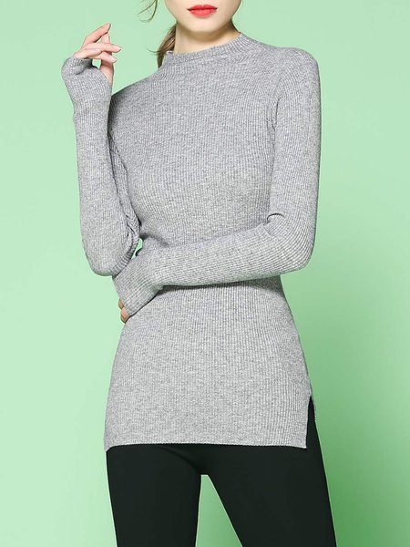Knitted Slit Simple Stand Collar Sweater
