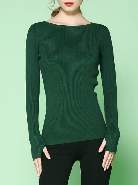 Knitted Stretchy Long Sleeve Plain Simple Sweater
