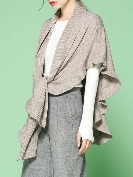 Apricot Knitted Casual Ruffled Poncho