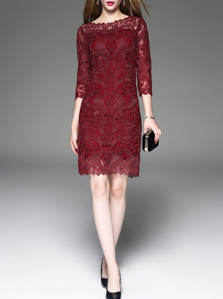 Wine Red 3/4 Sleeve Floral Embroidered Sheath Midi Dress