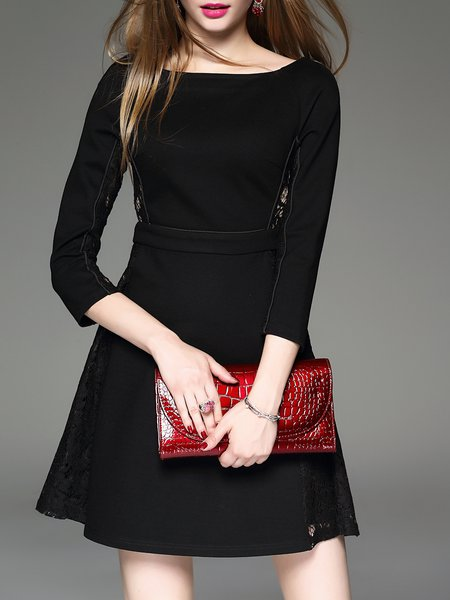 Black Plain 3/4 Sleeve Lace Stitching Shift Mini Dress