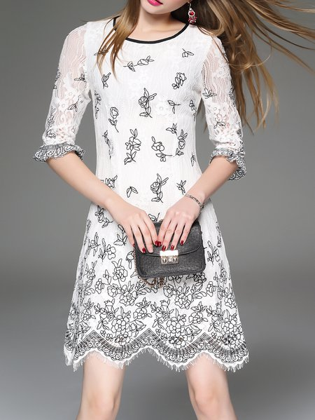 Girly Half Sleeve Cotton Embroidered Midi Dress