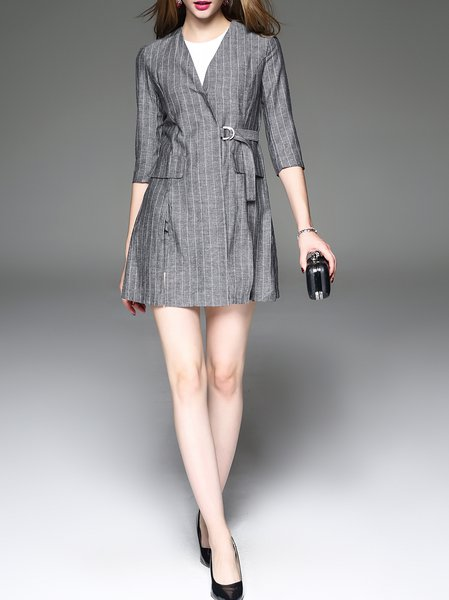 Gray Two Piece Stripes Half Sleeve Work Suits