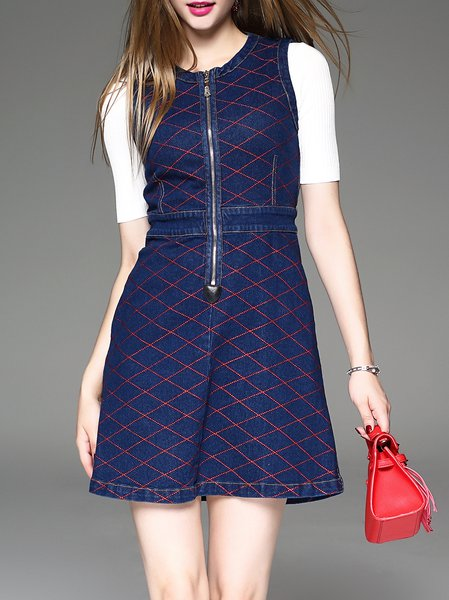 Checkered/Plaid Zipper Sleeveless Casual Mini Dress