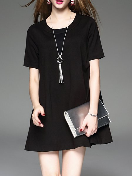Black Zipper Solid Crew Neck Short Sleeve Mini Dress